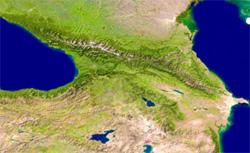 Cartina geografica della regione del Caucaso