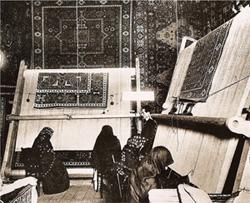 Laboratorio di manifattura professionale di tappeti caucasici nel distretto di Kuba, Azerbaïdjan, 1910 circa.