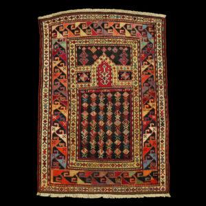 Antico tappeto a preghiera caucasico della seconda metà dell'800 XIX secolo